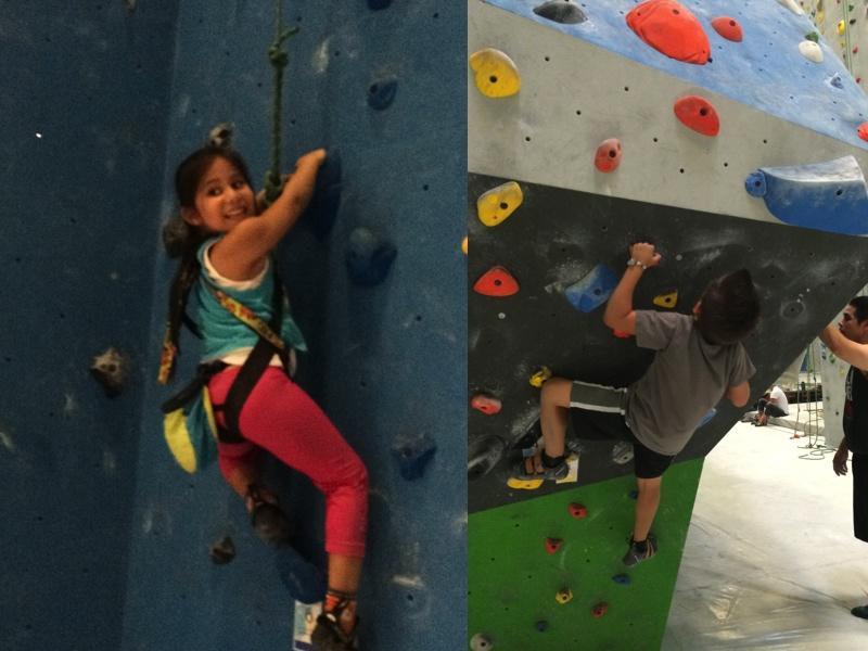 Amariah wall climbing; JJ boulder climbing.