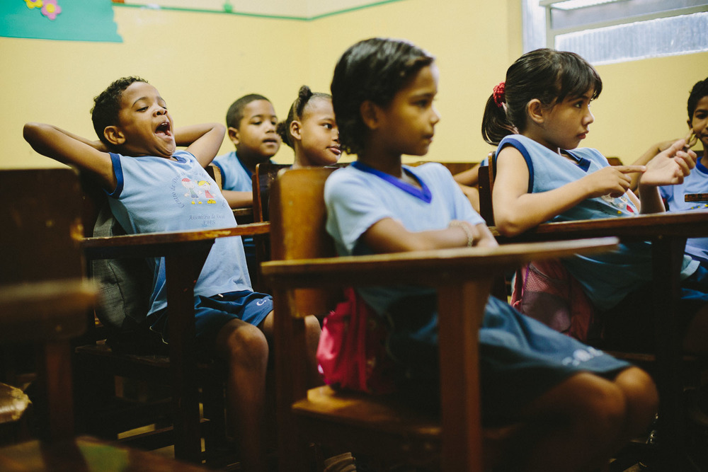 Like kids all around the world, being in class can often be a tiring endervor as evidenced by frequent yawning during morning classes. Emidio during classes at the Compassion Center.