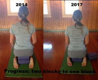 Update: 2018- after a good class my ankles can touch my bottom! It is so exciting to me to be free of knee pain after years of suffering.