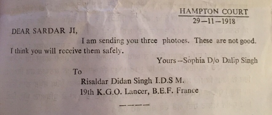 Sophia's letter to Didan Singh, 1918