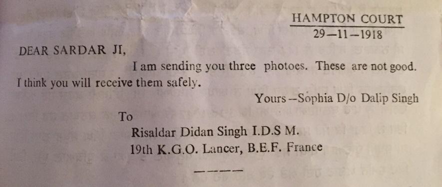 Sophia's letter to Didan Singh, 1918
