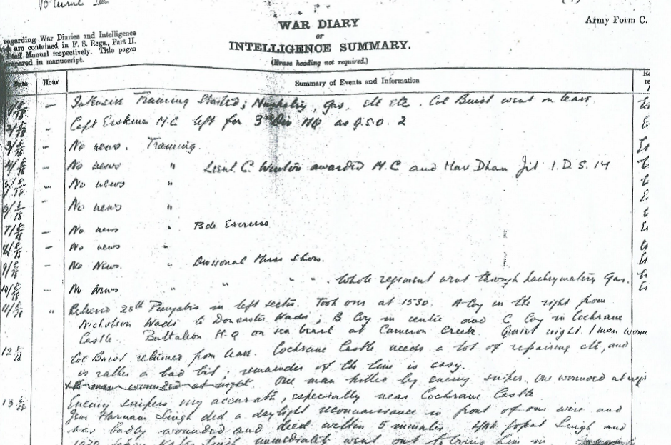 War diary entry (1/2)