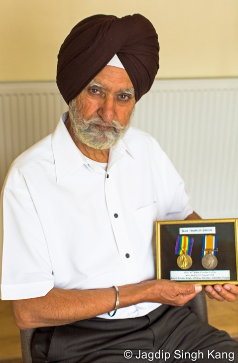 Sadhu Singh with his grandfather's medals