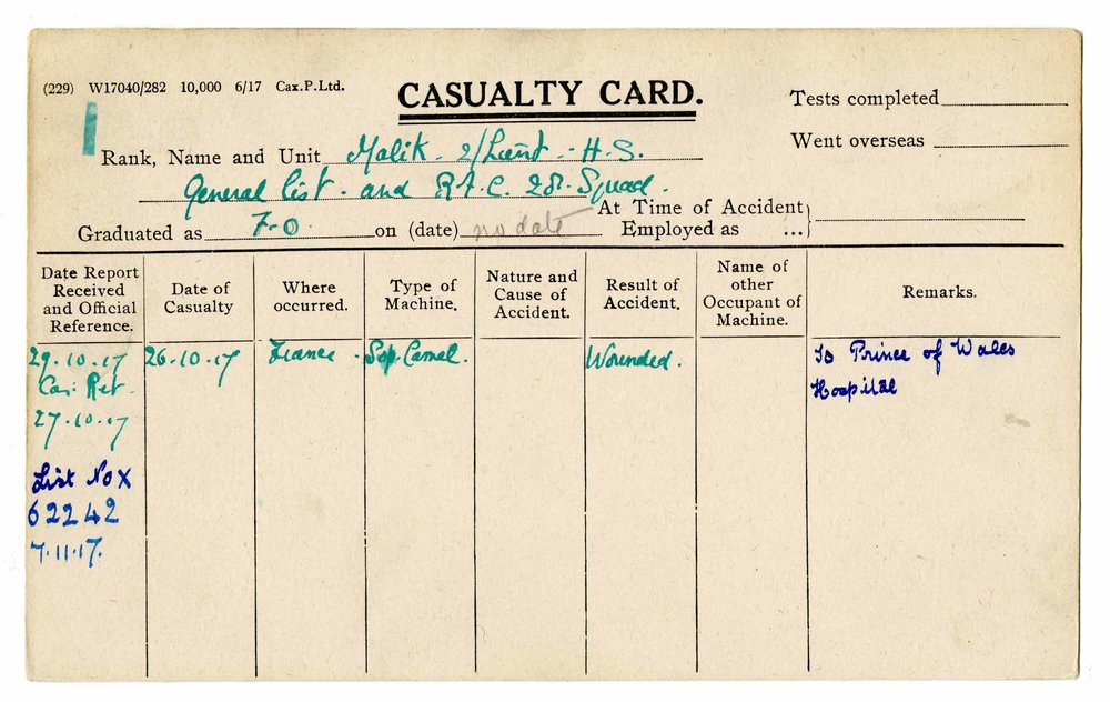 Hardit Singh Malik's Casualty Card