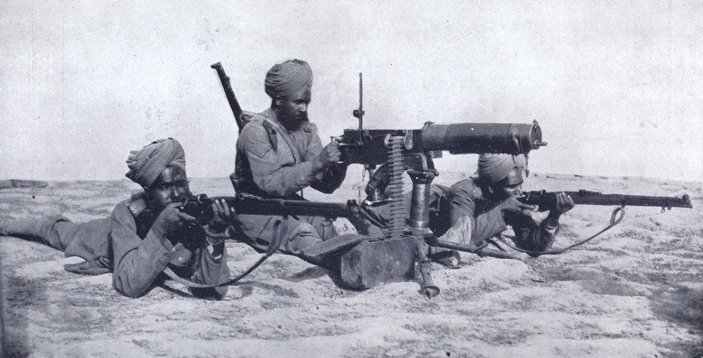Sikh maxim section, Suez Canal, c 1915