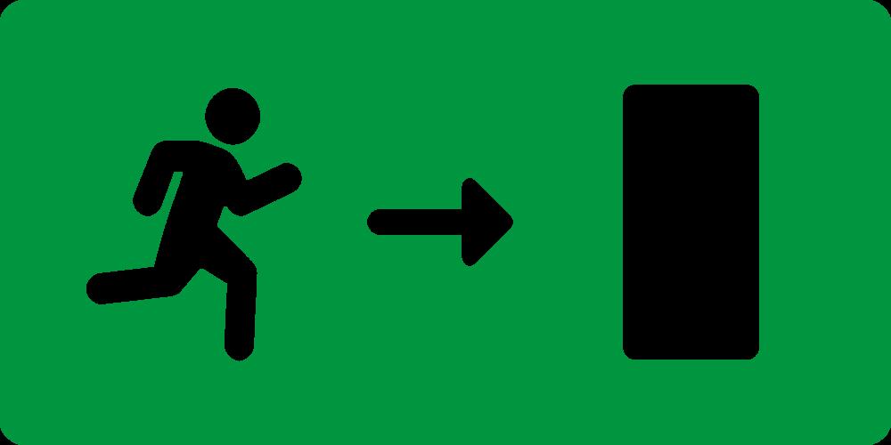 NR. Nooduitgang weg rechts