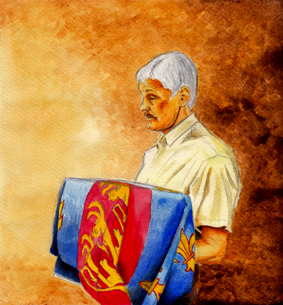 Artwork by Riikka Nikko: John Ashdown-Hill carrying the remains of Richard III