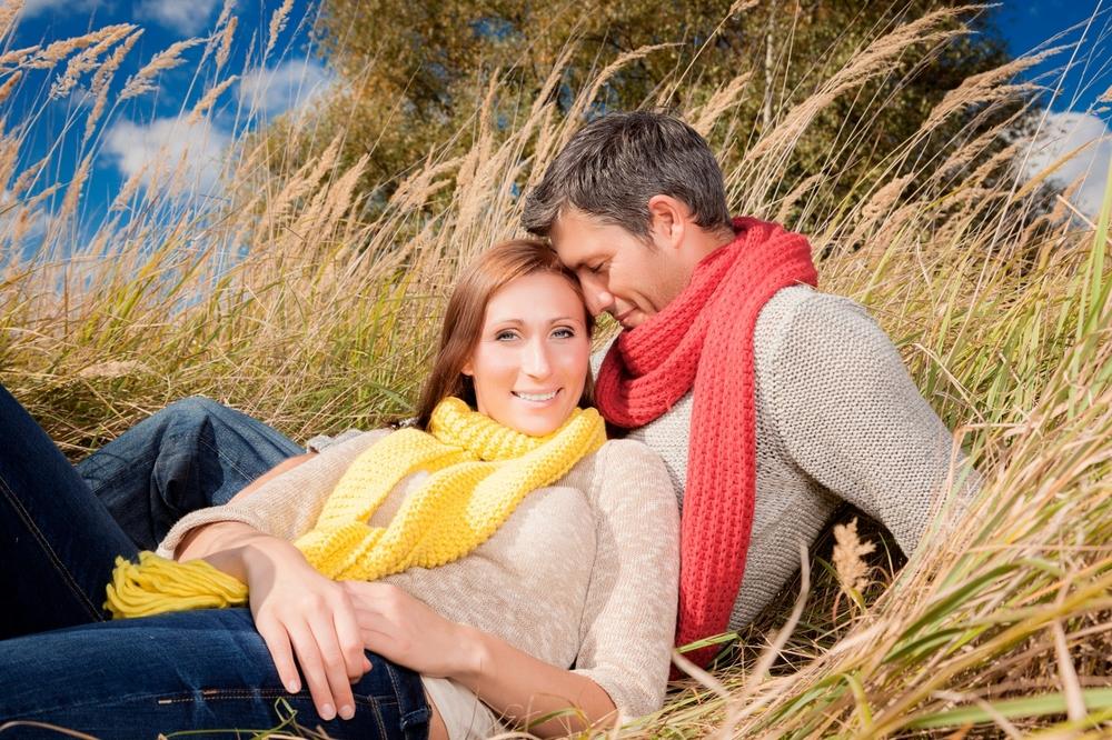 romantic natural couple enjoying warm season