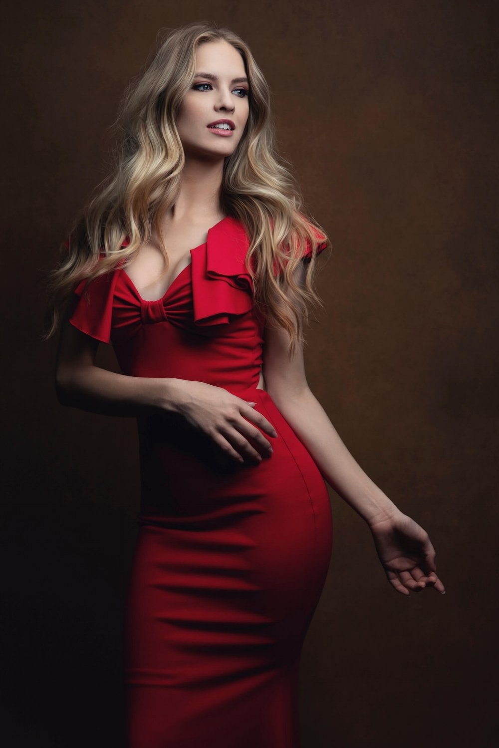 Beautiful blond girl Red-dress portraiture Starnberg