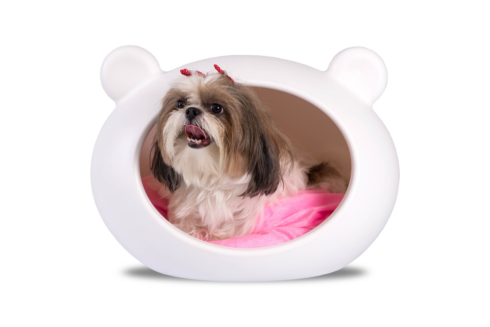 DCB-PINK Small White Dog Cave with Pink Cushion.jpg