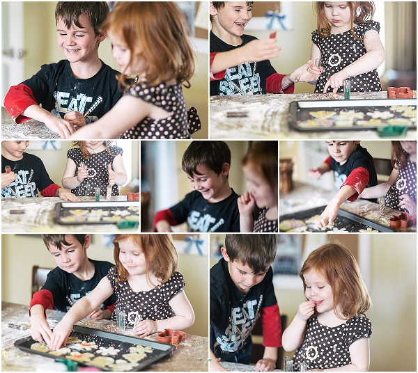siblings baking christmas cookies