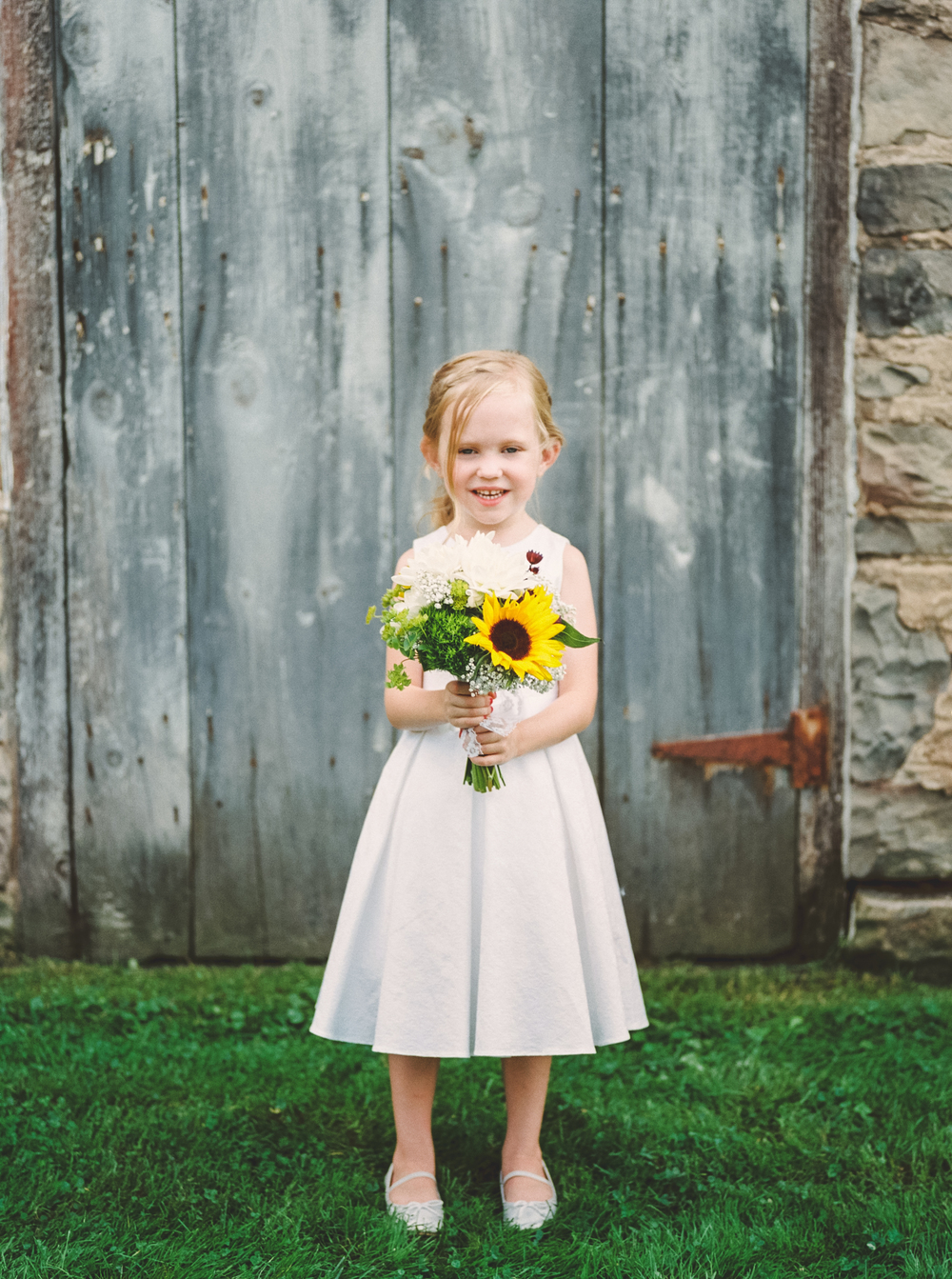 flower girl with wildflowers