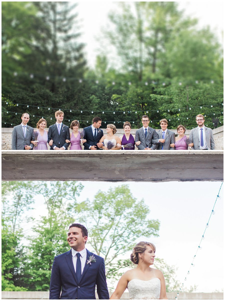 wedding party in purple tilt shift photography