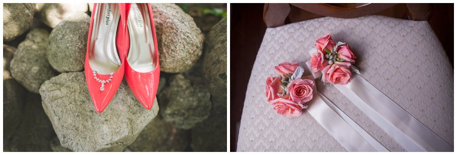 coral Bride's shoes and decor