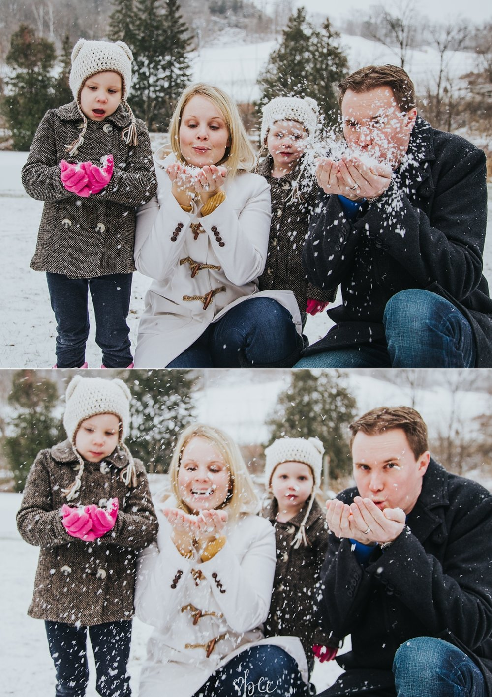 Family blowing snow to the camera