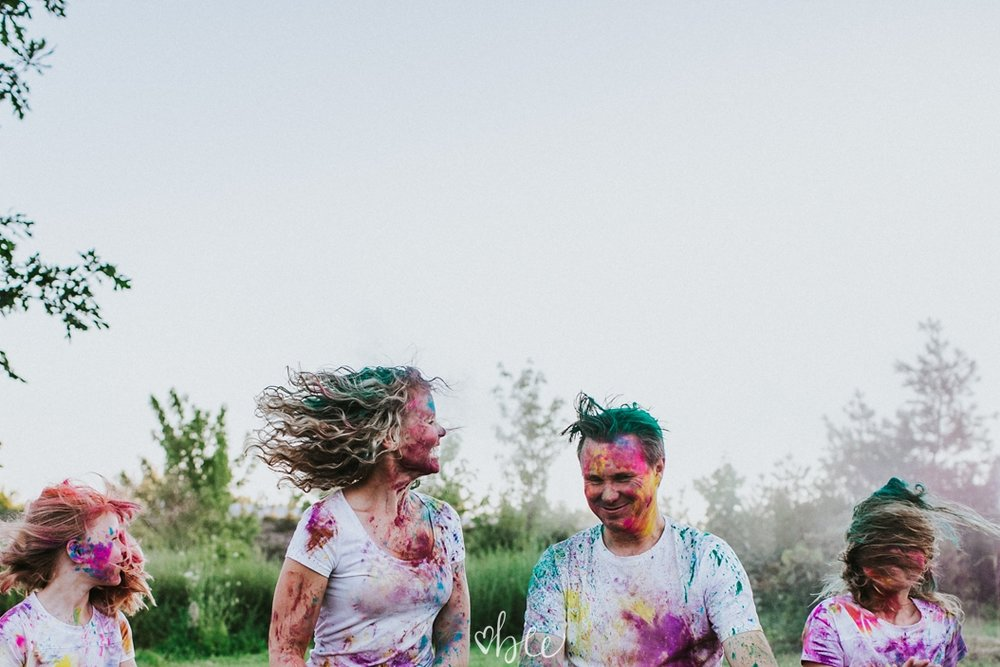 throwing coloured powder for a photo shoot