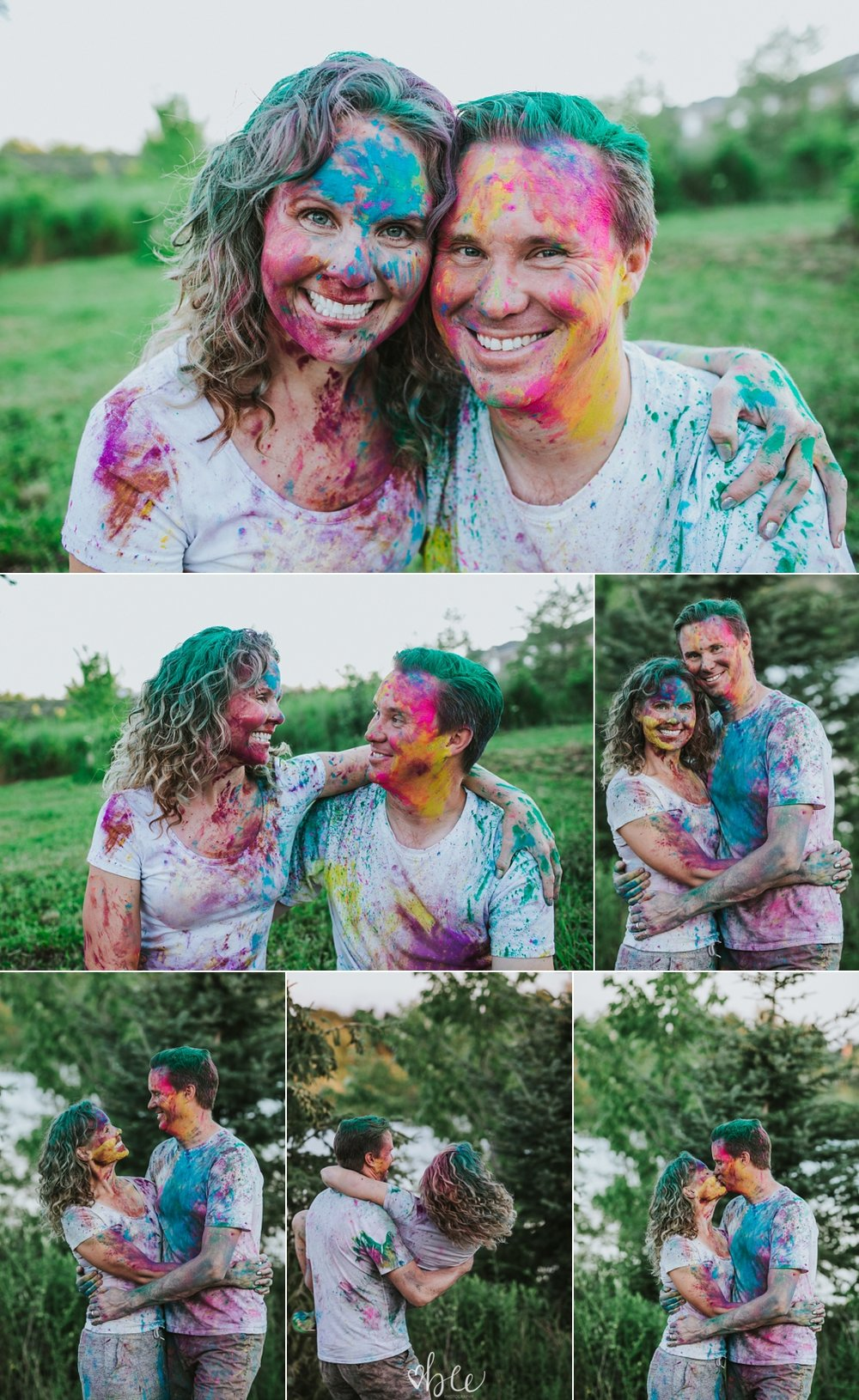 Couple having a holi powder fight