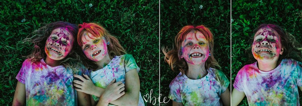 Children covered in HOli powder Photo SHoot