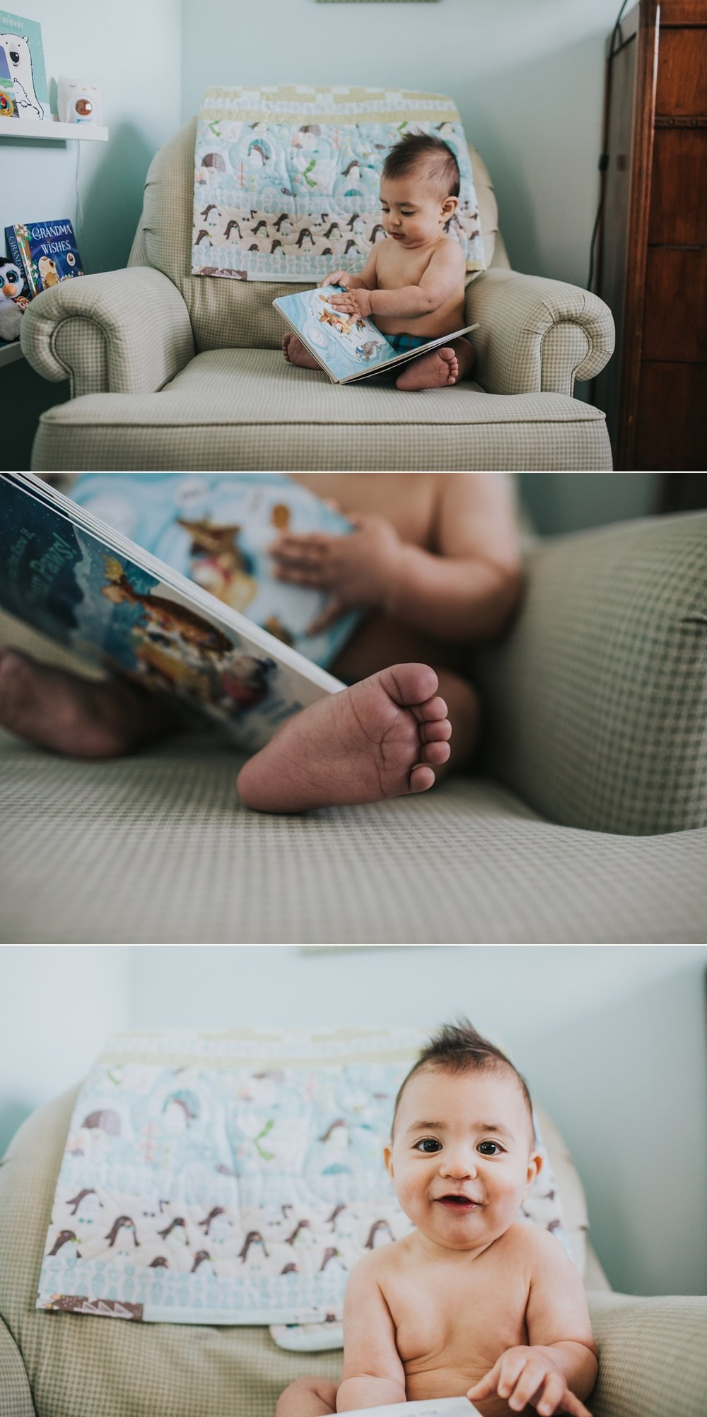 baby reading a book on a chair lifestyle photography