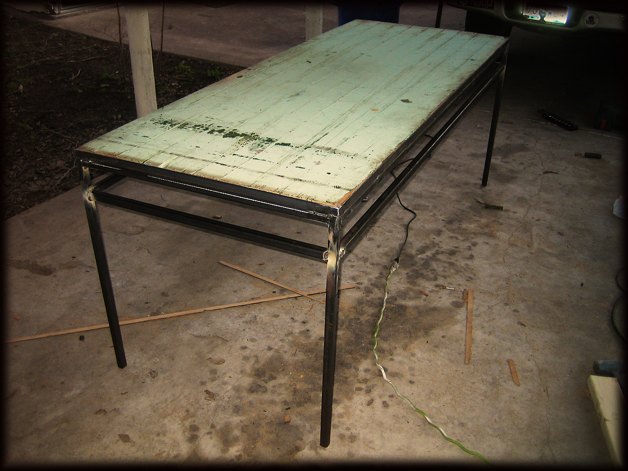 my new art table in the works!! how lucky am I? davidalexanderclark: barn door and steel work table for me lady