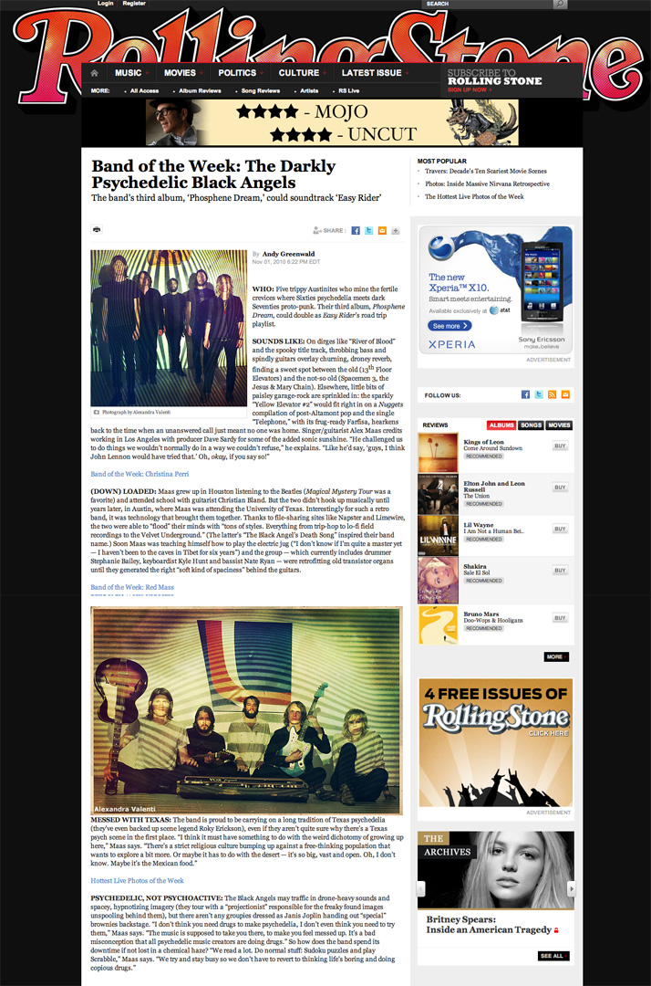 few of my Black Angels photos on Rolling Stone.com. And more importantly, they got Band of the Week. sweet!