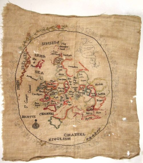 thehermitage: pollygannon: kickcanandconkers: Map sampler by Sarah Ann Drayton 1805 Ex Antiques
