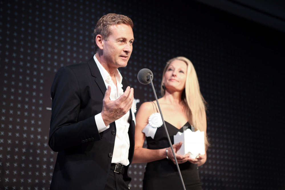 Reiulf Ramstad with Kristin Stokke Ramstad at the  2015 Architizer A+Awards Gala . Photo by Samantha Nandez/BFA.com