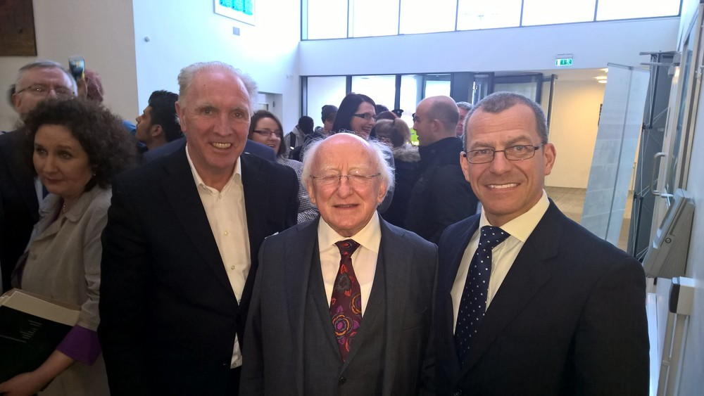 David with the President of Ireland, Michael Higgins and Brain Carlin from Aspire.