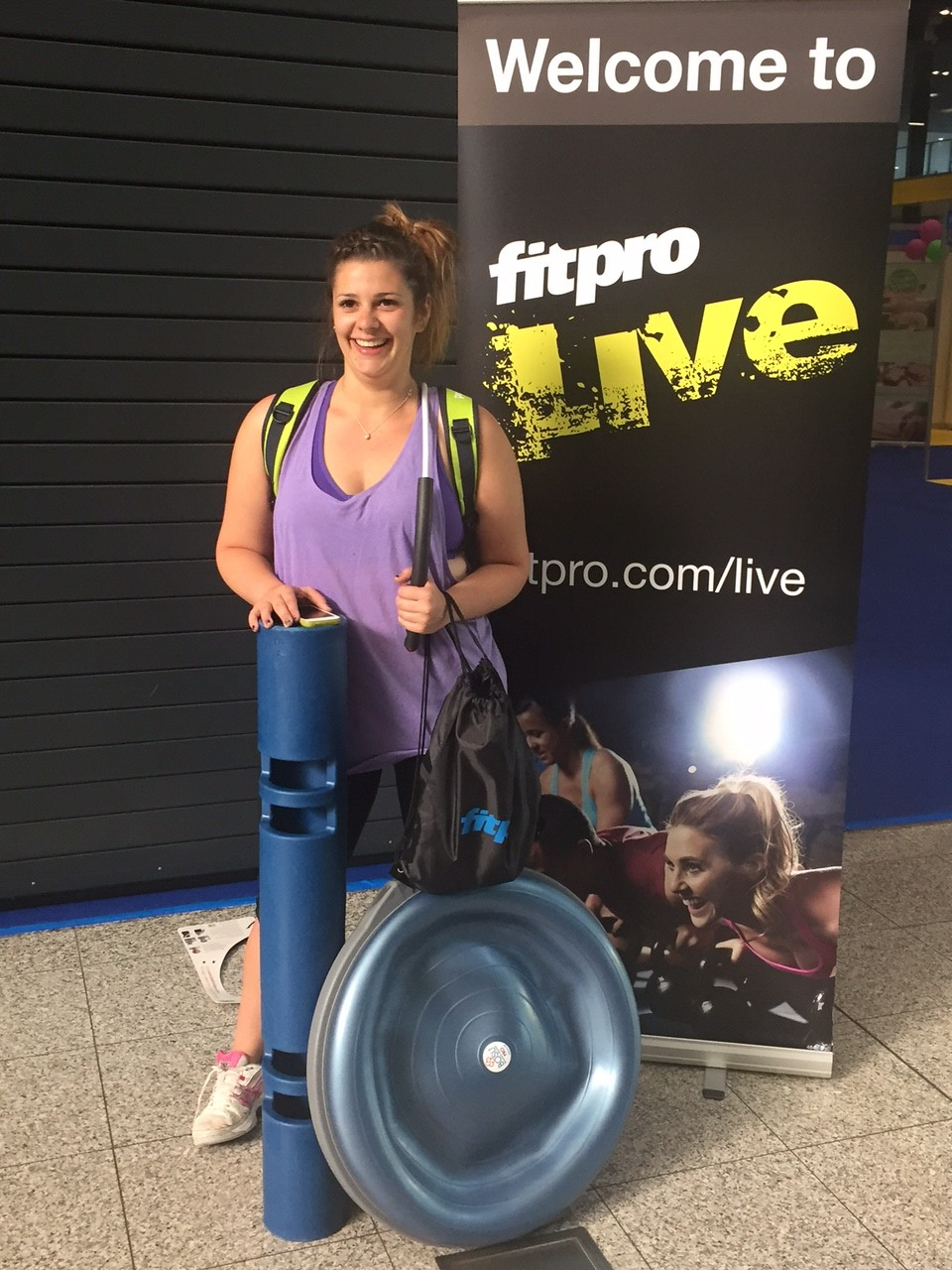 Jen with her winnings! Walking out the proud owner of a ViPR and a Bosu ball!