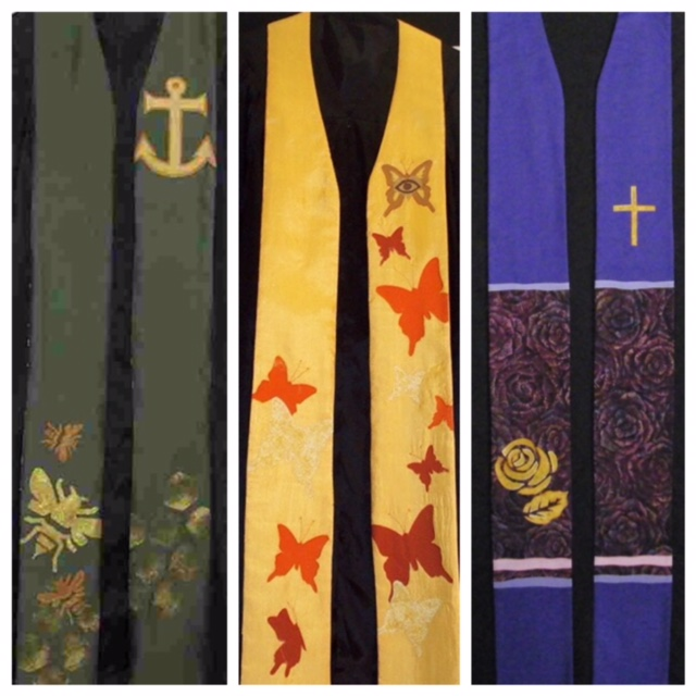 Left to right: Our first stole sold on eBay,  one of our first commissioned stoles, and the newest stole on our website.