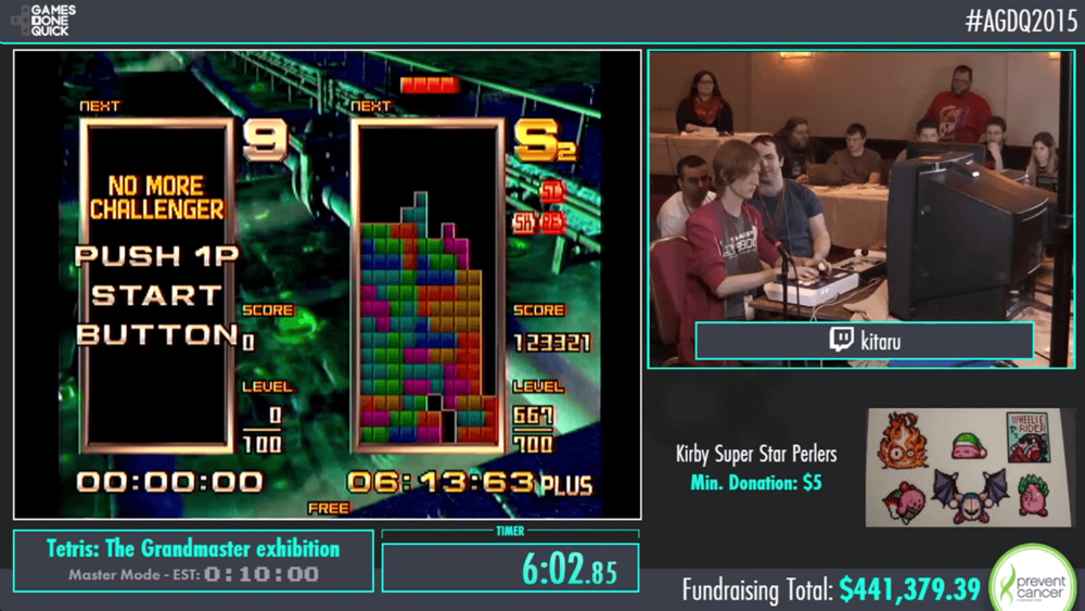 """The """"4:3, 1 Player"""" layout, one of seven made for AGDQ 2015."""