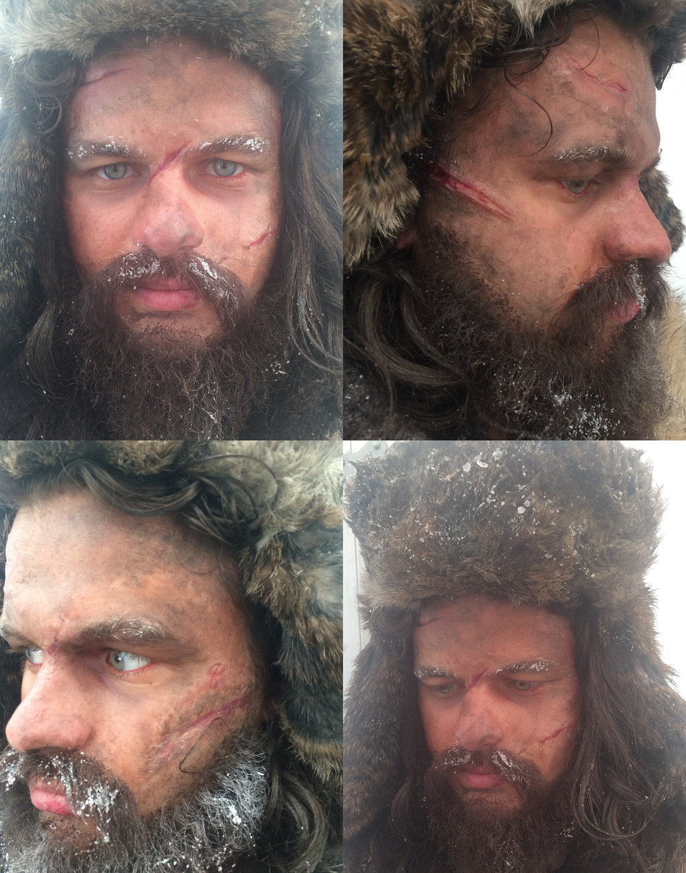 Silicone transfer, lace &beard laying, blood, dirt, ice fx