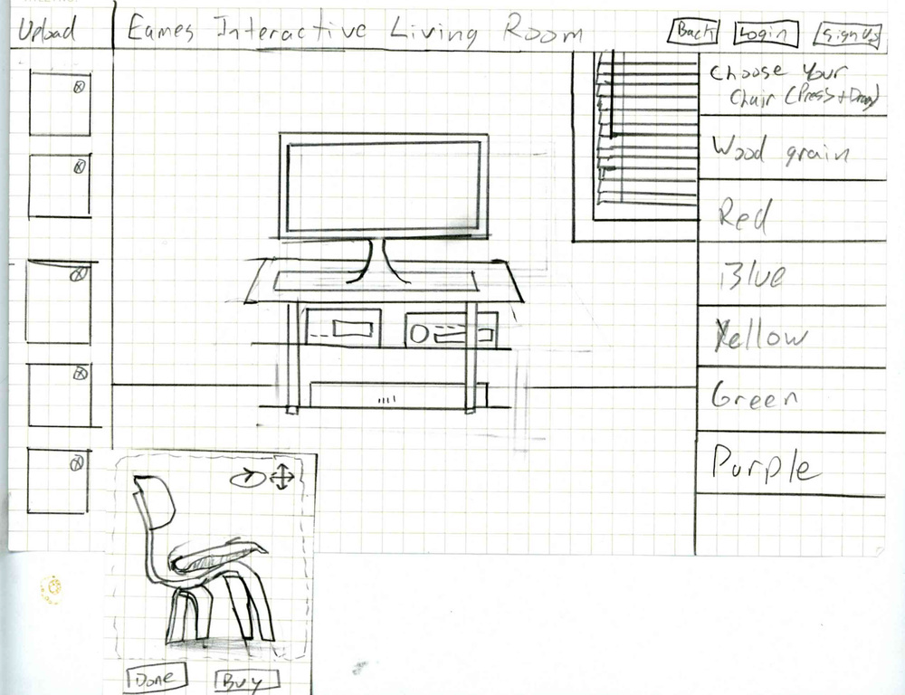 A finalized sketch of our Build Your Living Room concept.