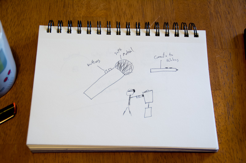 An early concept of the pen, including a reference to how the tip would have to be able to touch the artifacts without damaging them.
