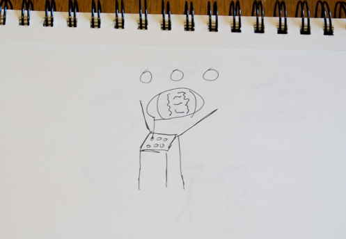 A sketch on an experience in which users would have small items like gemstones, coins or jewelry enlarged in the augmented reality headset.