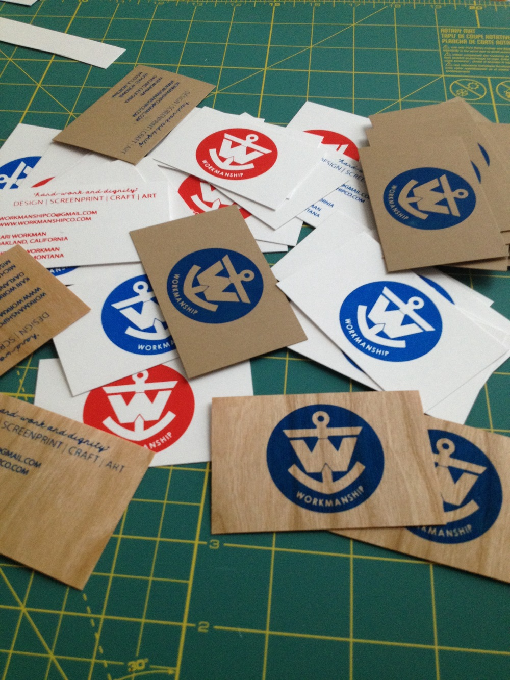 Hand Printed business cards