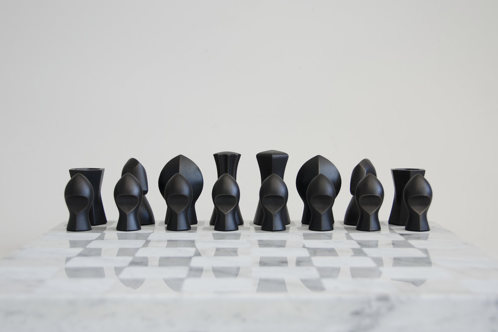 Bronze + Marble Chess Set