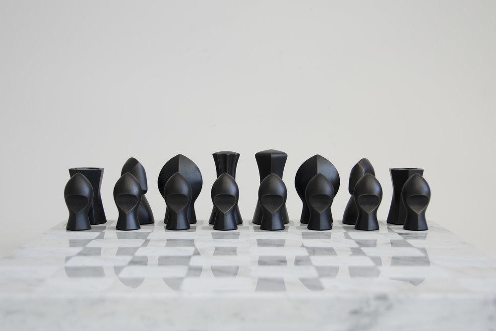 Bronze + Marble Chess Set