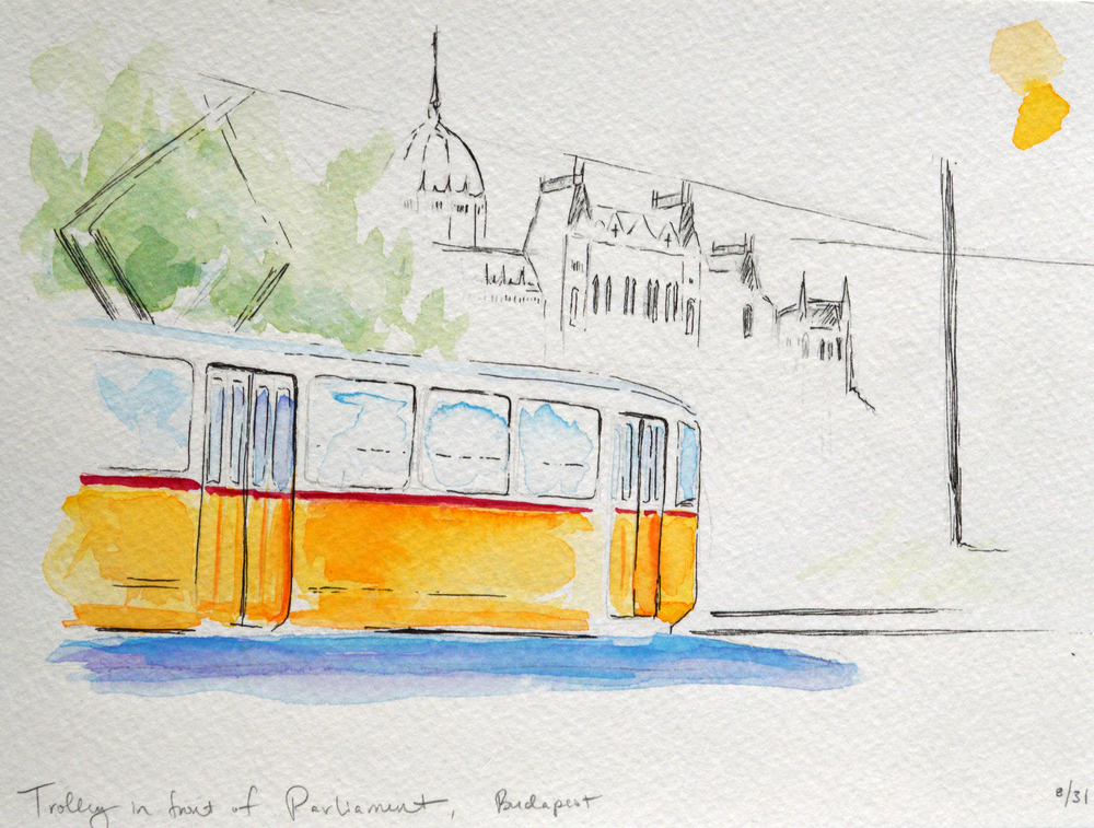 Watercolor study of the yellow streetcar in front of Parliament.