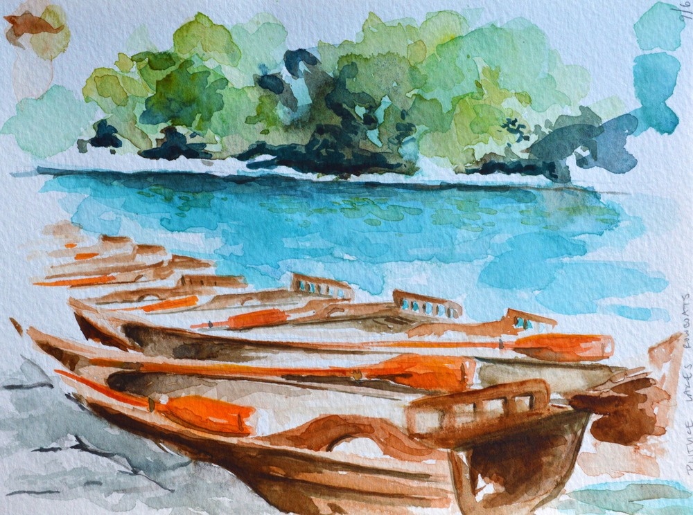 Rowboat rendering at Plitvice Lakes National Park, Croatia.