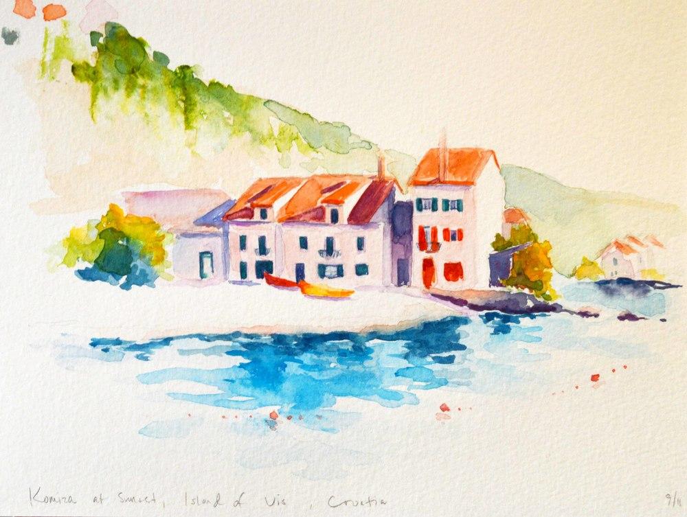 Watercolor Rendering, Komiža on Vis Island