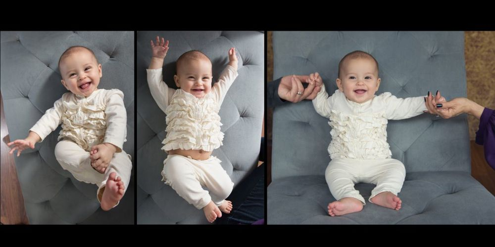 after 6 months, babies smiles radiate.  But selecting a good time for the shoot is important!  Do not schedule it during regular nap or feeding time!