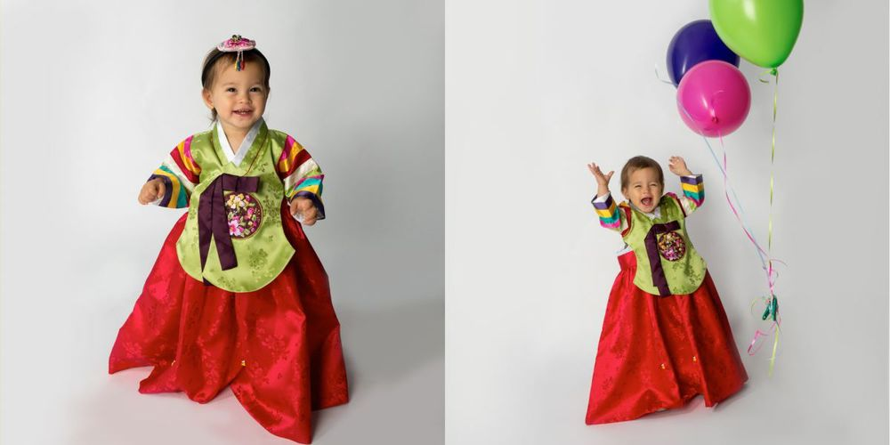 "traditional Korean baby costume called ""hanbok "" birthday dress"