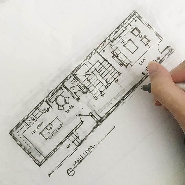 I've said this a millions times- there's nothing like getting lost in sketching plans. Soo therapeutic. Happy Wednesday! #lovemyjob #design #rowhome #townhome #baltimore #charmcity #architecture  #canton #interiordesign #architecture #plans