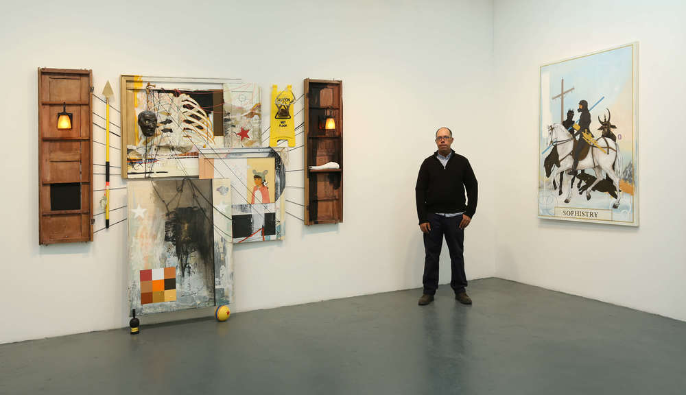 "The artist pictured with ""Untitled"" and ""Sophistry""."