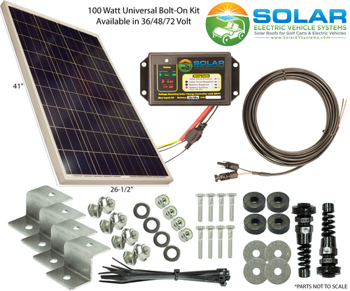 100 Watt Universal Kit — Solar EV Systems - Solar Golf Carts, Roof For Star Golf Carts Battery Chargers on golf cart solar charger, golf cart 36 volt charger, ez go battery charger, power wise 36v battery charger, 36 volt battery charger, rv battery charger, star battery charger connector,