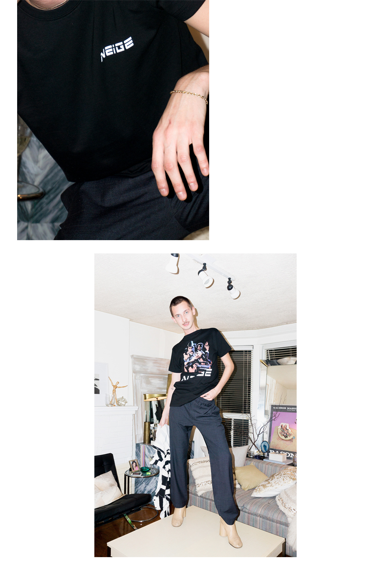 Ryan wears  Neige Striped Trousers  and  Neige Cops Tee (backwards)