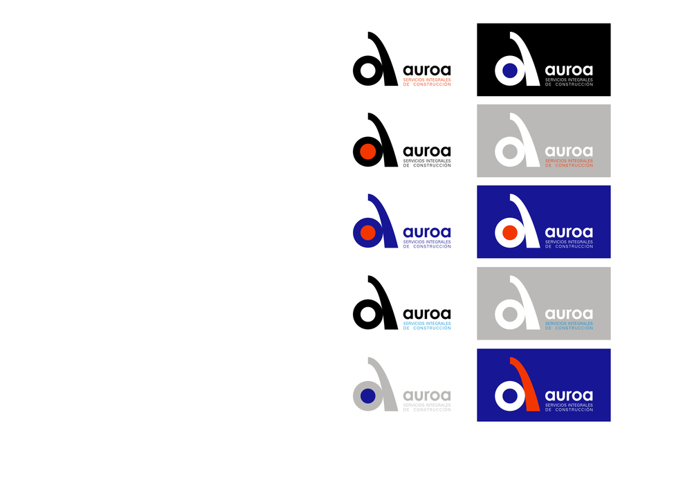 Modelos de tarjeta para empresa Auroa, Servicios Integrales de Construcción