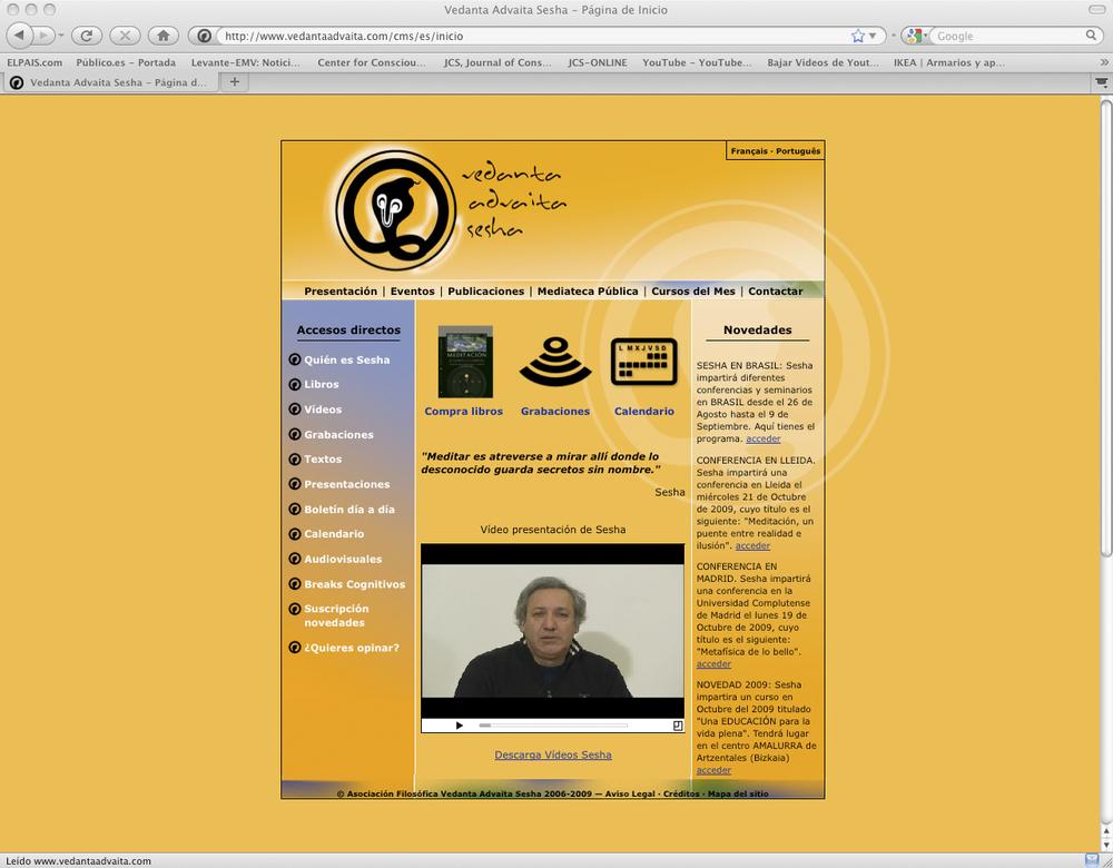 Web para la Asociación Vedanta Advaita Sesha
