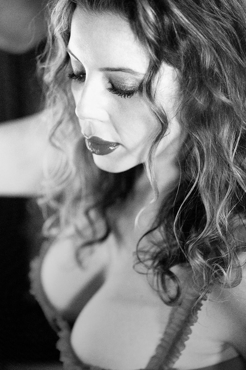 Boudoir intimate holiday Christmas black and white portrait _40A2576